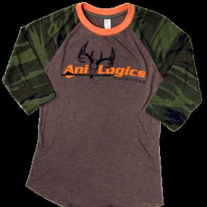 Ani-Logics Womens 3/4 Sleeve Brown & Camo Shirt